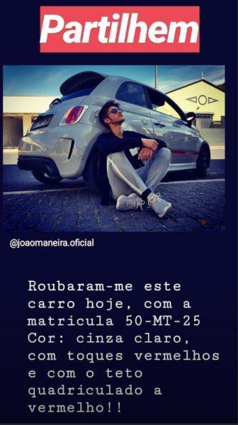João Maneira faz apelo nas redes sociais depois de ser roubado