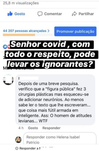 "Helena Isabel IRRITA-SE  e manda coronavírus ""Levar os ignorantes"""
