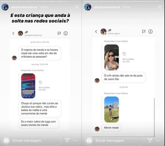 """Pipoca Mais Doce revela mensagens enviadas por """"criança"""": """"És a maior cabra..."""", """"Morre"""""""