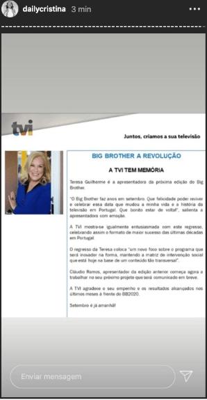 Teresa Guilherme, novamente, na TVI! Será a apresentadora do 'Big Brother - A Revolução'