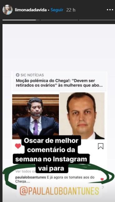 """Após polémica de André Ventura sobre quem faz abordo, atriz Paula Lobo Antunes surge """"cortar os tomates aos homens do Chega"""""""